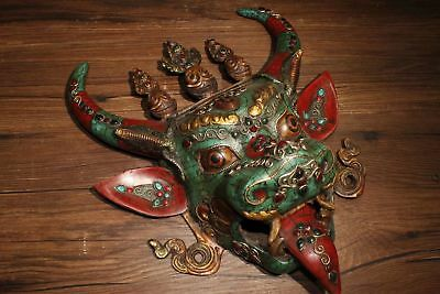 Chinese Tibetan Buddhism old copper gilded inlaid gemstone Bull head mask