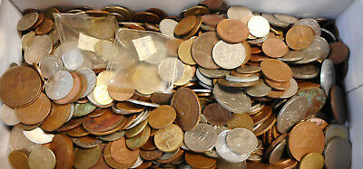 #56. ABOUT 4.5  KILOGRAMS  POOR PENNY & WORLD  COINS - SECONDS FOR CRAFT etc