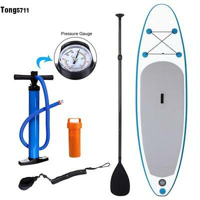 10'' Inflatable SUP Stand Up Paddle Board Adjustable Paddle Travel Backpack+pump