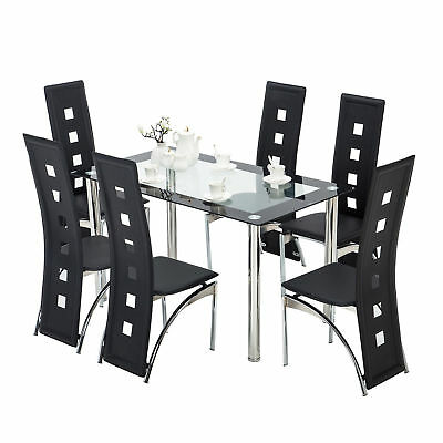 7 Pcs Glass Dining Table Set and 6 Faux Leather Chairs Kitchen Room Furniture