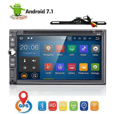 7'' Inch Double 2DIN Android Stereo Car CD DVD Player GPS Wifi Touch Radio +CAM
