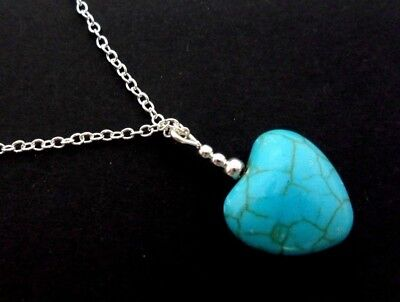 A Lovely Silver Plated  Turquoise Heart Bead Necklace. New.