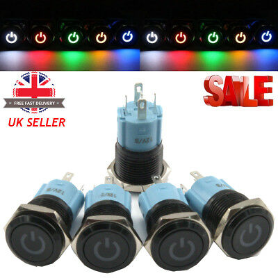 12V Momentary or Latching Button Switch - Aluminium Metal 3A Power LED UK SELLER