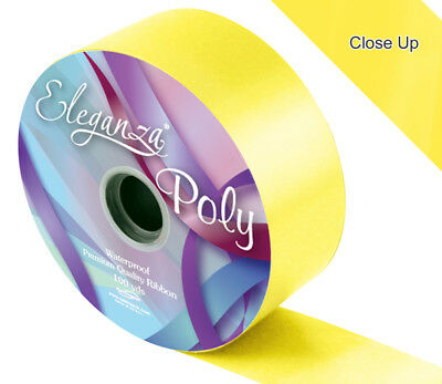 Yellow 50 mm Wide Poly Ribbon Floristry Weddings Crafts Various Lengths