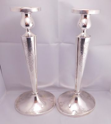 Lovely Pair Of Antique Sterling Silver Floral Scrolling Flower Candlesticks