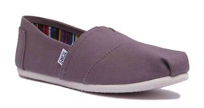Toms Classic Slip On Womens Grey Canvas Trainer Size UK 3 - 8
