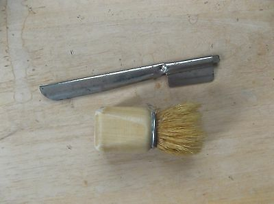 Vintage Straight Razor Holder and Shaving Brush