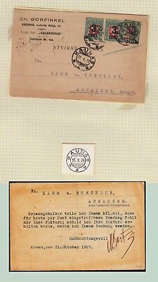 Lithuania 1923 post card used Kaunas . kn960