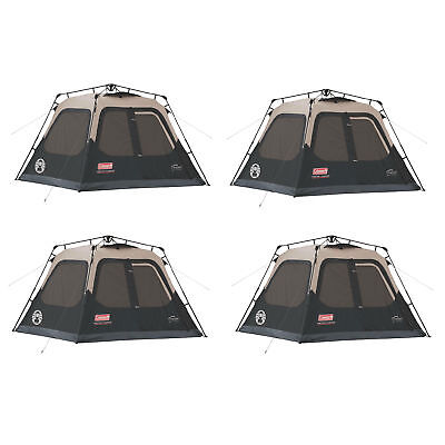 Coleman Outdoor Family Camping 4-Person Waterproof Instant Cabin Tent (4 Pack)