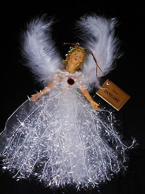 January Garnet Angel Christmas Birthstone Tree Ornament with Winged Feathers