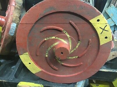 "c1940's shipyard WOODEN factory mold - RED circle w/spiral detail - 16"" diameter"