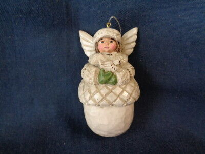 P. Schifferl Wooden??  White ANGEL ORNAMENT - NAME ON BACK