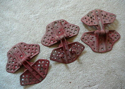Three Antique Butterfly Style Cast Iron Barn Hay Mow Door Hinges - Old Red Paint