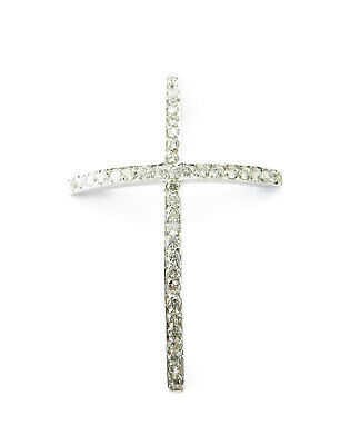 14K White Gold Clear Stones Cross Crucifix Charm Necklace Pendant ~ 2.4g