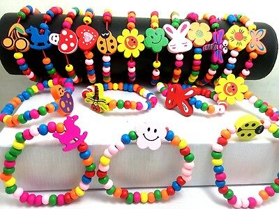 Wholesale 100Pcs mix kids children wooden wood bracelet cuff wristband jewelry