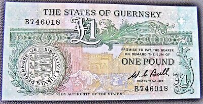 1980 The States of Guernsey  ONE POUND ( £1 ) Banknote - Strictly UNCIRCULATED