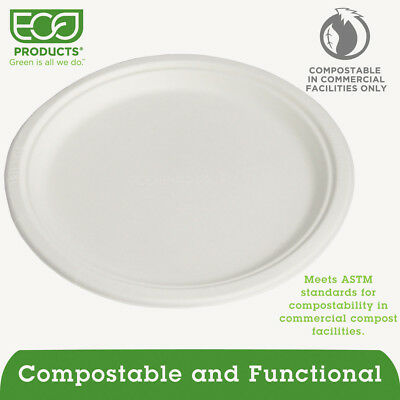 "Eco-Products Renewable & Compostable Sugarcane Plates - 10"", 500/ct  EPP005 New"