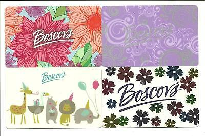 Lot (4) Boscov's Gift Cards No $ Value Collectible Flowers Animals