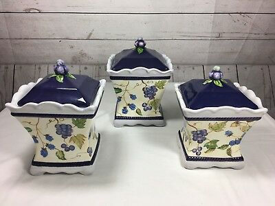 Capriware 3 Pc Grape U0026 Blueberries Kitchen Canister Set Ceramic Jars Storage