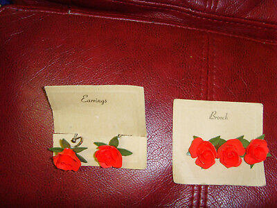 Retro vintage reproduction red roses handmade screwback earring brooch set CHIC