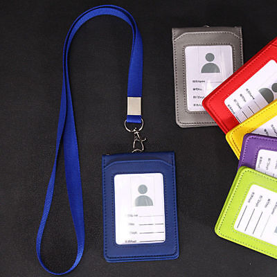 5 Slot Leather Wallet Office ID Badge Card Credit Holder Case Neck Strap Lanyard