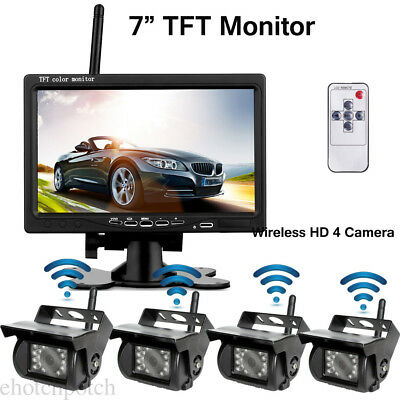 "FOR TRUCK TRAILER RV Bus Wireless 7"" TFT LCD 2-Channel MONITOR+4 HD CAMERAS Kit"