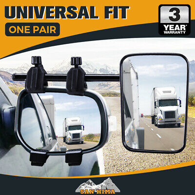 SAN HIMA Pair Towing Mirrors Universal Multi Fit Clamp On 4X4 Caravan Trailer