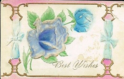 Antique Postcard - Best Wishes - Embossed Hand Painted - 1909