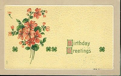 Antique Postcard - Birthday Greetings - Embossed Hand Painted - Early 1900's