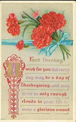 Antique Thanksgiving Postcard - Embossed & Hand Painted - Fond Greetings - 1911