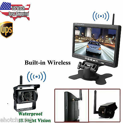 """Wireless 7"""" Car Rear View Monitor + Backup Camera + 2x Antenna For Truck Trailer"""