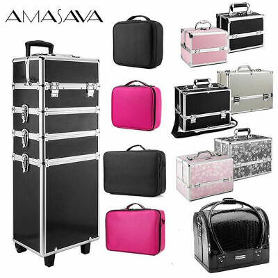 Large Cosmetics Nail Hairdressing Case Storage Box Makeup Beauty Vanity Trolley