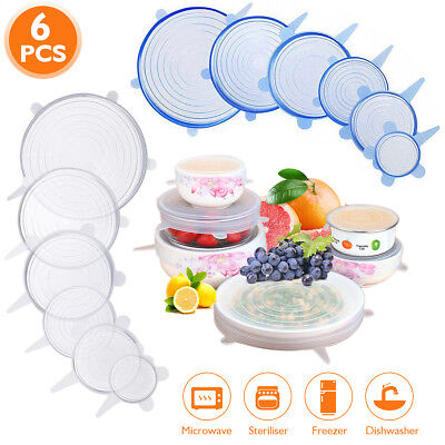 6 X Super Stretch Lids Silicone Covers Universal Food Covers Lids Easy Fit O0U3