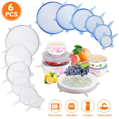 6Pcs Super Stretch Lids Silicone Bowl Cover Universal Food Covers Lids Easy Fit