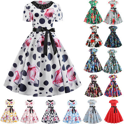 Womens Vintage Pinup Swing Evening Party Short Sleeve Rockabilly Retro Dress