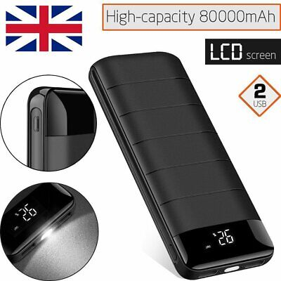 External 80000mAh LCD Battery Charger Power Bank Charging Pack For Mobile Phone