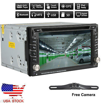 GPS Double 2 Din Touch Car Stereo DVD CD Player Navi Radio Bluetooth iPod+Camera