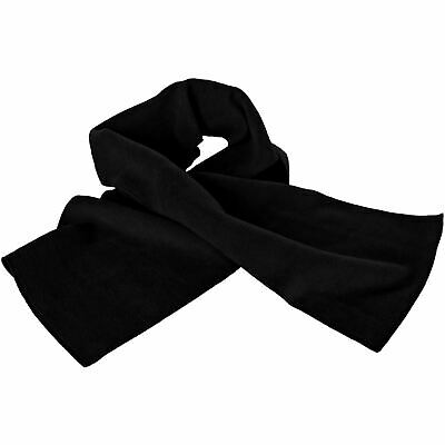 Mens Polar Fleece Scarf Thermal Winter Ski 25x160cm, Black
