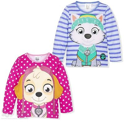 Paw Patrol Girls Long Sleeve Top 100% Cotton T-Shirt 2-6 Years Skye Everest NEW