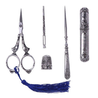Sewing Scissors Vintage Embroidery Alloy Awl Threader Thimble Needle Case Kits