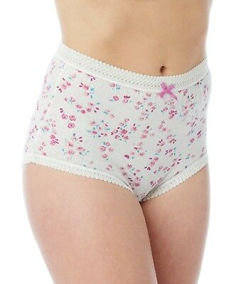 6 Pairs Plus Size Ladies Flowered  Cotton Full Briefs  Knickers Sizes 12 To 42