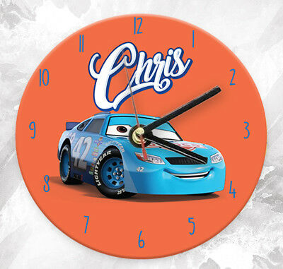 Personalised Any Name Cars Wall Clock Custom Printed Gift Kids Bedroom