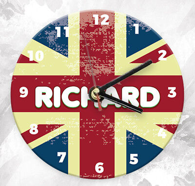 Personalised Any Name British Flag Wall Clock Custom Printed Gift Kids Bedroom