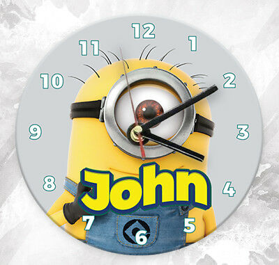 Personalised Any Name Minion Wall Clock Custom Printed Gift Kids Bedroom