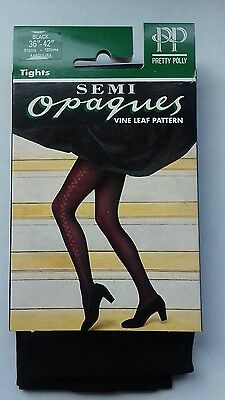 Pretty Polly black semi-opaques Pattern nylon Tights Size Medium