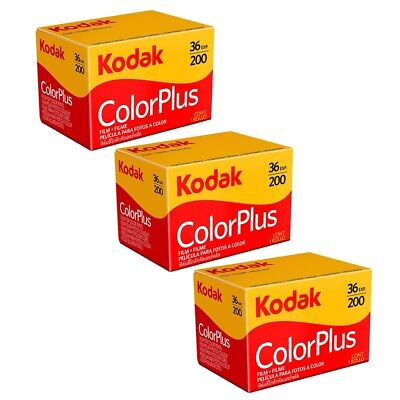 3 Pack Kodak ColorPlus 200 ASA 35mm Colour Print Film 135-36 Exposure