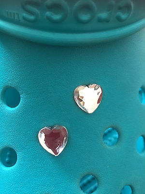 2 Diamond Gem Heart Shoe Charms For Crocs & Jibbitz Wristbands. Free UK P&P.