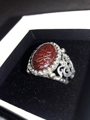 Yemeni (Liver Color) Red Aqeeq Agate Silver Islamic Mens Ring
