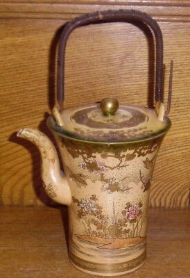AS IS Vintage / Old Chinese / Japanese Export Pottery Porcelain Teapot - Signed