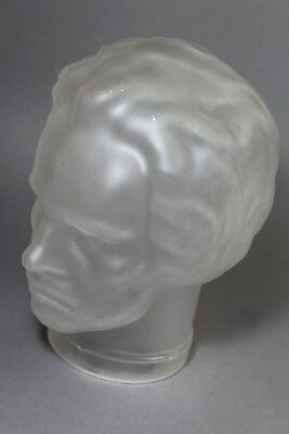!!Beethoven Glaskopf satiniert Kopfhörerdisplay 24 cm pop art 70s head glass !!!